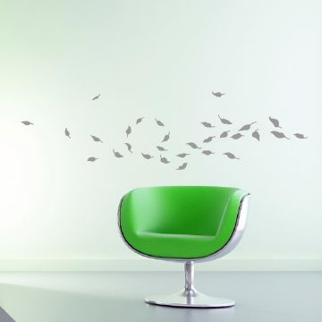 Whirlwind of Leaves Wall Sticker in Light Grey
