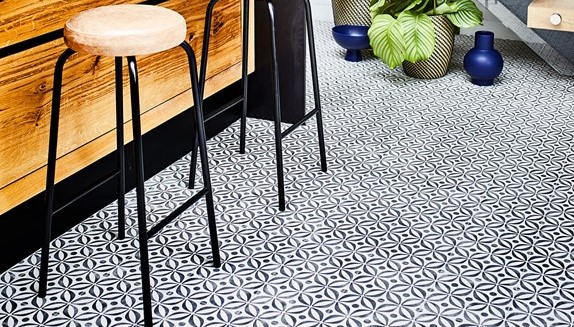 Mid Century Vinyl Flooring in a kitchen