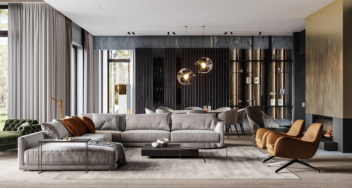 Luxury living room grey hues