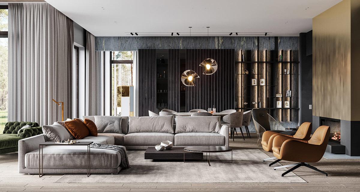 Luxury living room grey hues