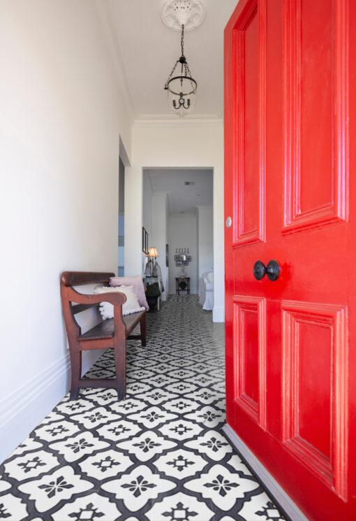Vinyl floor tiles Victorian style hall