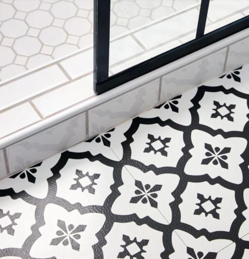 Black and white vinyl tile close detail