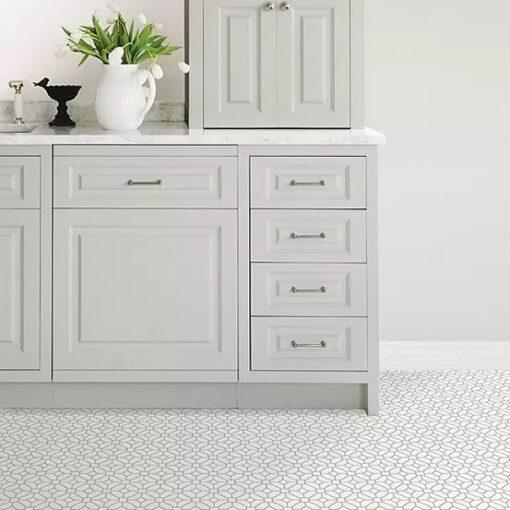 Lattice vinyl floor tiles