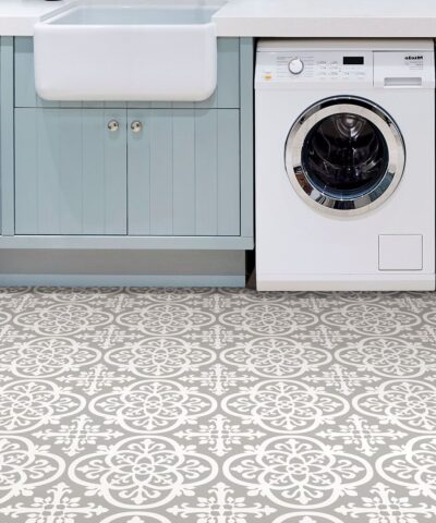 Medina Vinyl Floor Tiles kitchen Grey and White