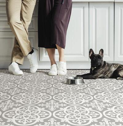 Grey and white Medina Vinyl Floor Tiles on kitchen floor