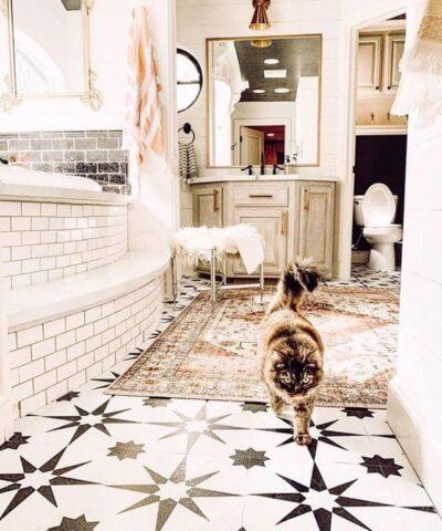 Retro bathroom vinyl floor tiles