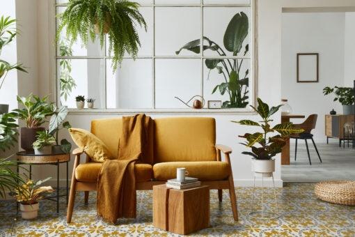 Grey and Yellow Vinyl Floor Tiles