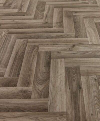 Herringbone Parquet Dark Oak Sheet Vinyl Flooring