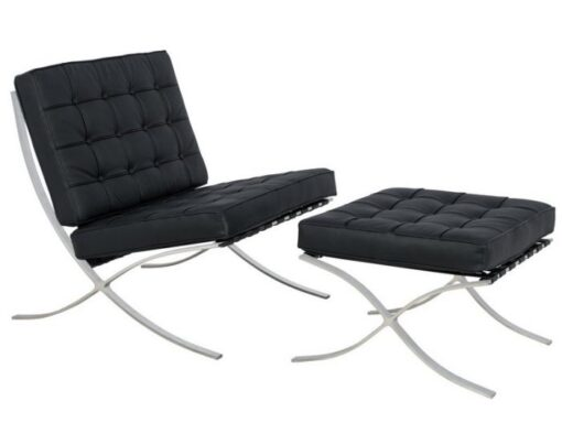Black Barcelona Chair and Footstool.