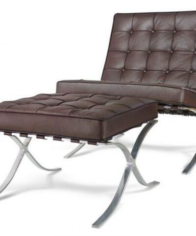 Brown Barcelona Chair and Footstool.