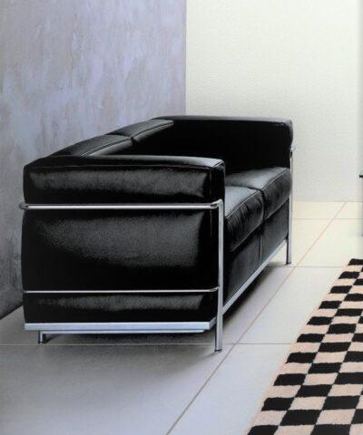 Black Le Corbusier LC2 2 Seater Sofa