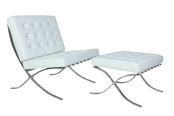 White Barcelona Chair and Footstool.